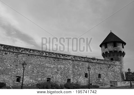 In the picture you can see a tower, Buda castle