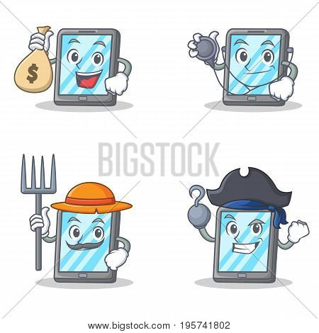 Set of tablet character with pirate farmer doctor money bag vector illustration