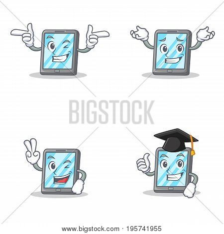 Set of tablet character with wink grinning two finger graduation vector art