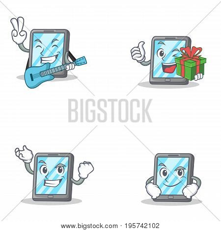 Seyt of tablet character with guitar gift successful smirking vector art