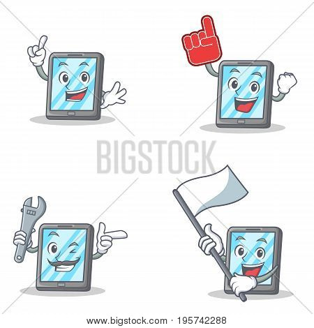 Set of tablet character with foam finger flag mechanic vector art