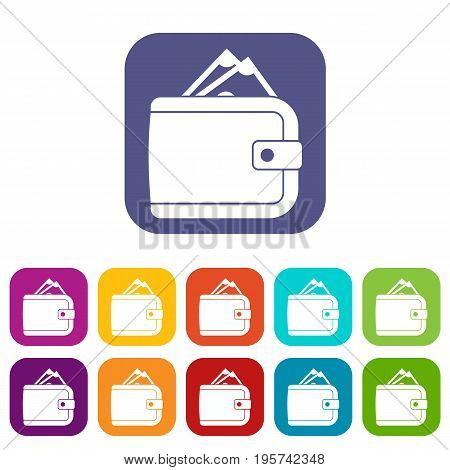 Purse with money icons set vector illustration in flat style In colors red, blue, green and other