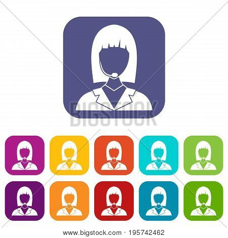 Manager taxi icons set vector illustration in flat style In colors red, blue, green and other