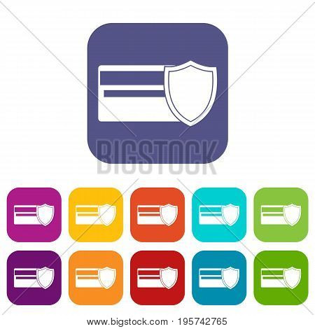 Credit card and shield icons set vector illustration in flat style In colors red, blue, green and other
