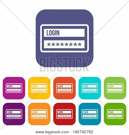 Login and password icons set vector illustration in flat style In colors red, blue, green and other