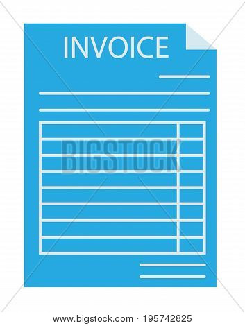 invoice icon on white background. invoice sign. flat style design. blue invoice.