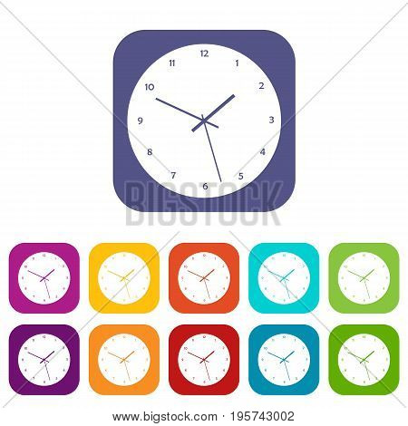 Watch icons set vector illustration in flat style In colors red, blue, green and other