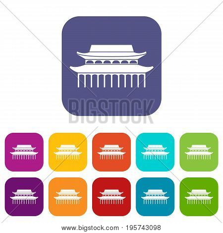 Buddha Toothe Relic Temple in Singapore icons set vector illustration in flat style In colors red, blue, green and other