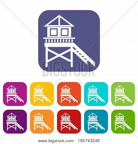 Wooden stilt house icons set vector illustration in flat style In colors red, blue, green and other