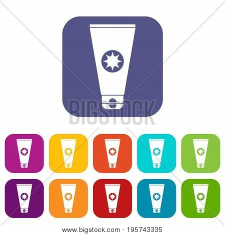 Tube with sunbathing cream icons set vector illustration in flat style In colors red, blue, green and other