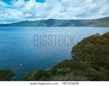 Apoyo lagoon in Nicaragua aerial drone view. Panoramic view on lagoon