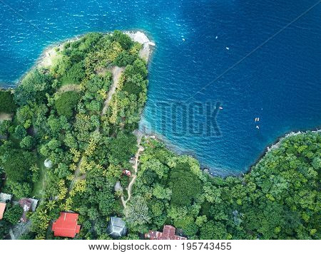 Blue lagoon in tropical view above from top. Tropical resort in Nicaragua