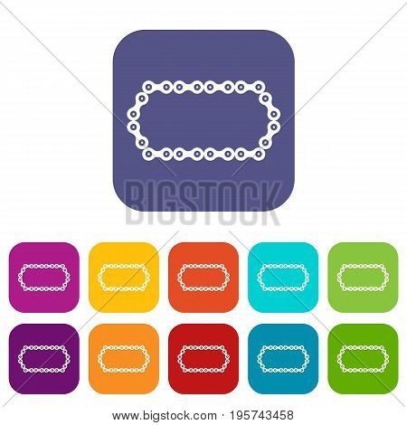 Bicycle chain icons set vector illustration in flat style In colors red, blue, green and other