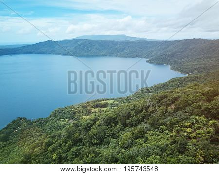Natural lagoona around mountain background aerial drone view