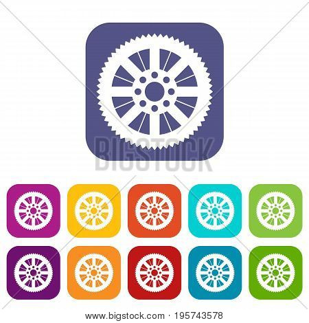Sprocket from bike icons set vector illustration in flat style In colors red, blue, green and other
