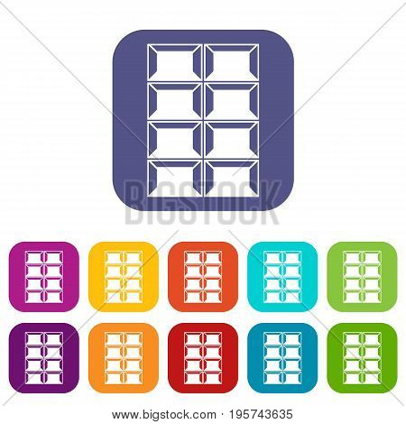 Dark chocolate icons set vector illustration in flat style In colors red, blue, green and other