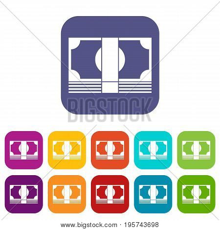 Swiss Franc banknote icons set vector illustration in flat style In colors red, blue, green and other