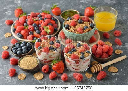 Different healthy food on a gray background