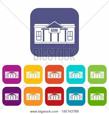 Bank building icons set vector illustration in flat style In colors red, blue, green and other