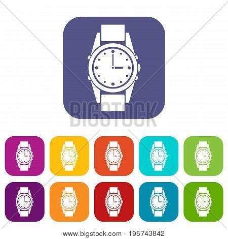 Swiss watch icons set vector illustration in flat style In colors red, blue, green and other