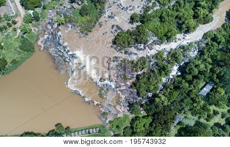 aerial photo from drone in top view: Poi waterfall in Phitsanulok province Thailand in rainy season