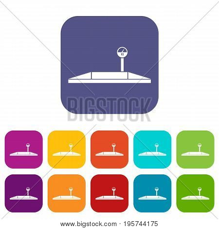 Parking scales icons set vector illustration in flat style In colors red, blue, green and other