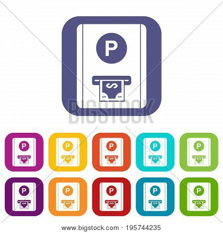 Parking fee icons set vector illustration in flat style In colors red, blue, green and other