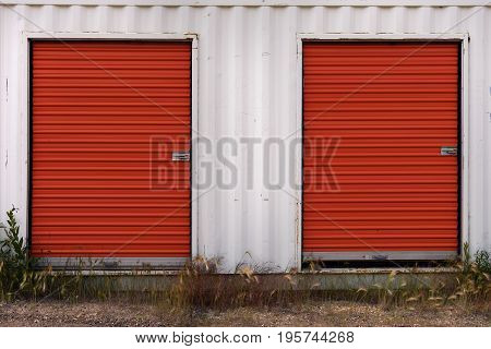 Red and White Industrial Storage Shed Exterior.