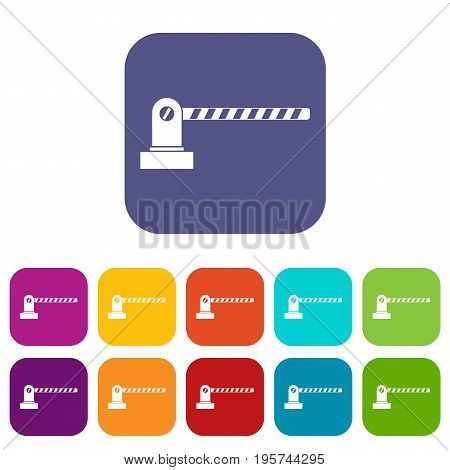 Parking barrier icons set vector illustration in flat style In colors red, blue, green and other
