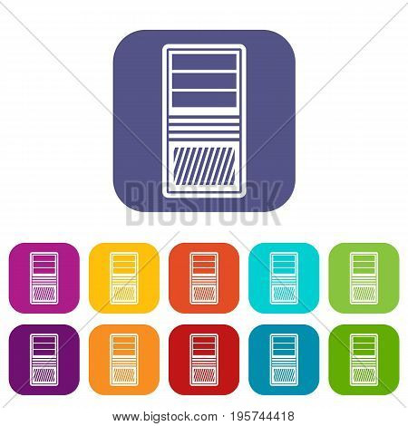 Black computer system unit icons set vector illustration in flat style In colors red, blue, green and other