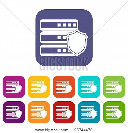 Database with gray shield icons set vector illustration in flat style In colors red, blue, green and other