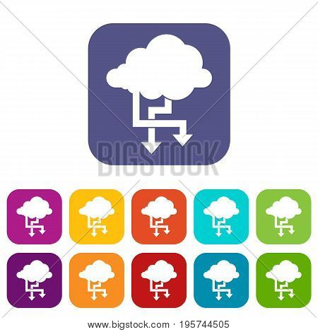 Cloud and arrows icons set vector illustration in flat style In colors red, blue, green and other