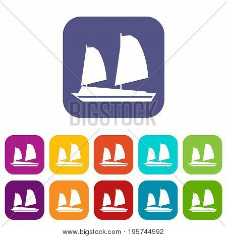 Vietnamese junk boat icons set vector illustration in flat style In colors red, blue, green and other