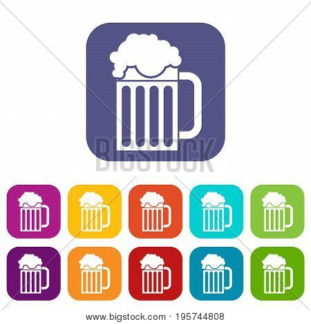 Beer mug icons set vector illustration in flat style In colors red, blue, green and other