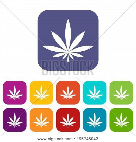 Cannabis leaf icons set vector illustration in flat style In colors red, blue, green and other
