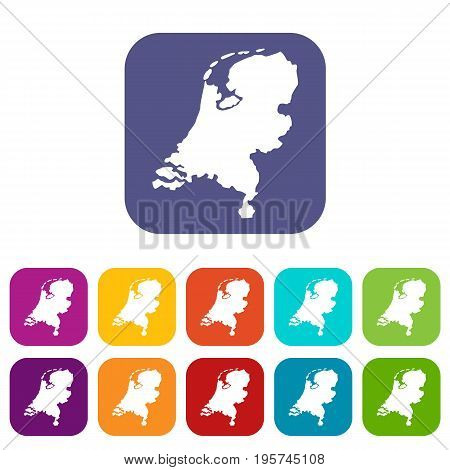 Holland map icons set vector illustration in flat style In colors red, blue, green and other