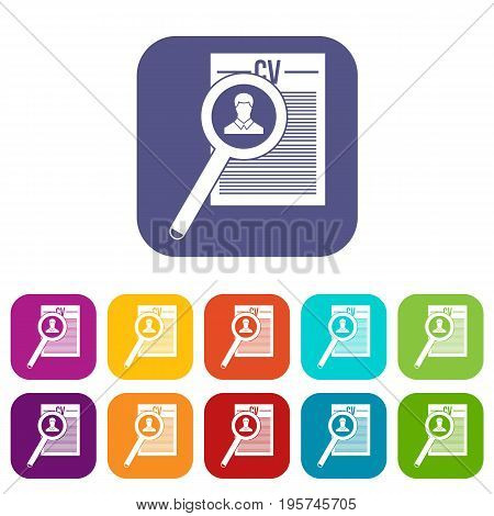Magnifying glass over curriculum vita icons set vector illustration in flat style In colors red, blue, green and other