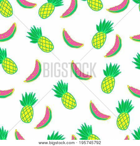 Exotic juicy fruity seamless cartoon vector pattern. Ripe pineapple and a slice of watermelon. Graphics for web design textiles fabrics.