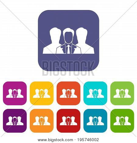 Recruitment icons set vector illustration in flat style In colors red, blue, green and other