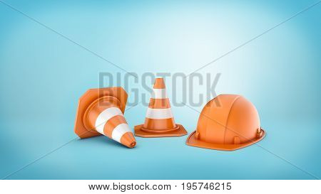 3d rendering of two striped road cones and helmet on blue background. 3d modeling. Traffic signs. Safety gear and equipment. Construction site.