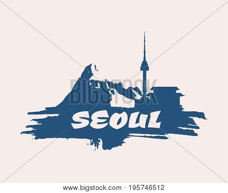 Namsan tower in Seoul and pagoda icons in simple style on grunge brush stroke. High mountains silhouette. Seoul text
