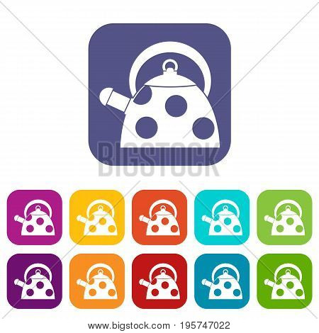 Kettle with white dots icons set vector illustration in flat style In colors red, blue, green and other