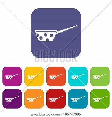 Pot with white dots and handle icons set vector illustration in flat style In colors red, blue, green and other