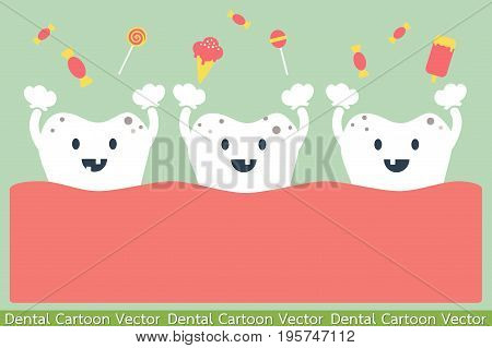 dental cartoon vector - teeth and sweets - decayed tooth