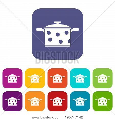 Saucepan with white dots icons set vector illustration in flat style In colors red, blue, green and other