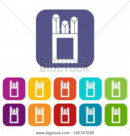 Chalks in carton box icons set vector illustration in flat style In colors red, blue, green and other