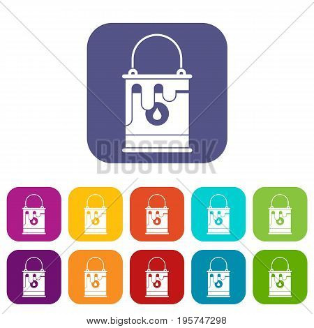 Bucket with paint icons set vector illustration in flat style In colors red, blue, green and other