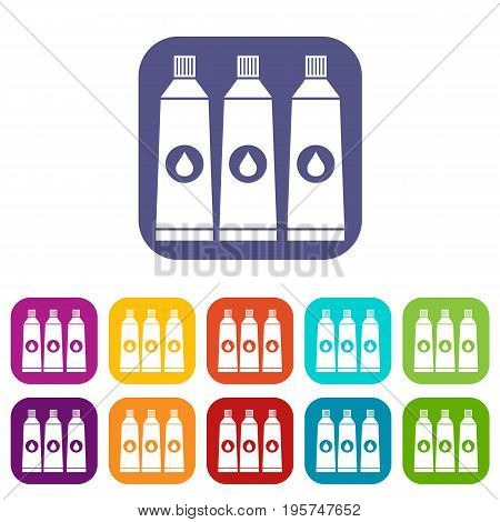 Three tubes with paint icons set vector illustration in flat style In colors red, blue, green and other