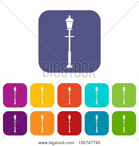 Lantern icons set vector illustration in flat style In colors red, blue, green and other