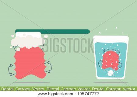 dental cartoon vector - orthodontic teeth retainer brace bracket cleaning